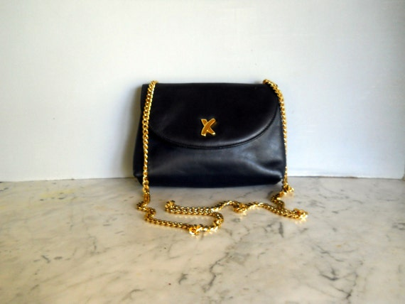 Paloma Picasso Navy Leather Cross Body Bag (1980s) Reserved for luxTEE until april 27