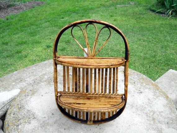 Mid Century Oval Bamboo Shelf // Small Hanging - Folding Shelves