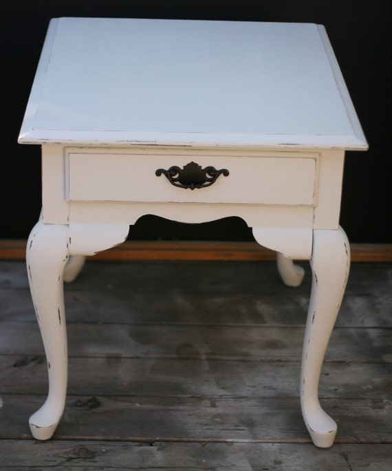 Shabby chic vintage end table distressed vintage white