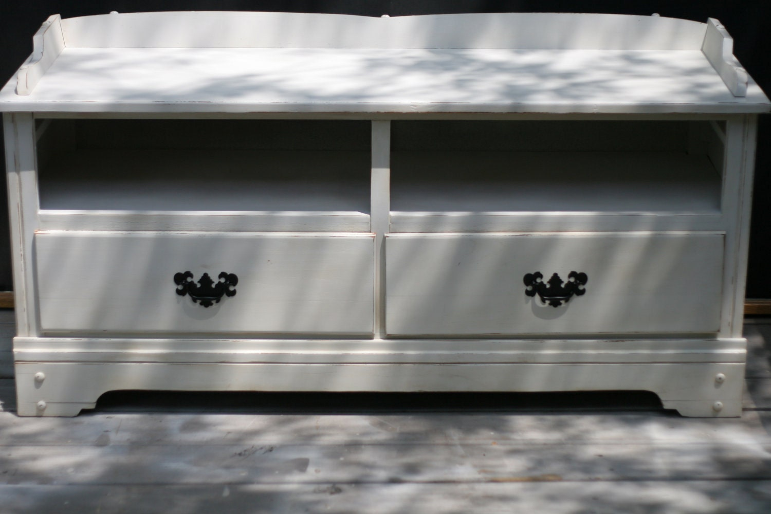 shabby chic vintage tv stand distressed white. Black Bedroom Furniture Sets. Home Design Ideas