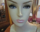 "hold rolly358 Mannequin Head Bust Wig Hat Jewelry Display 14.5"" tall  lipstick steel grey eyes eyebrows light weight hollow composition"