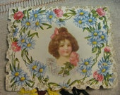 Valentine Embossed Lithograph Flowers Pink Blue Poetry of Love pierced on back Sadie Hodges
