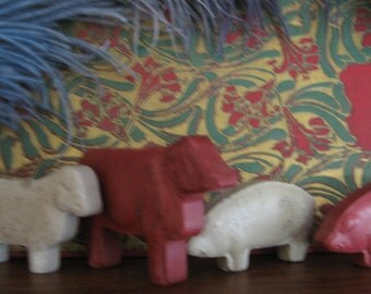 Antique Composition Red, White, Toy, Figural Sheep, Pig, Steer, Animals, Farm Toy c.1910 Victoriana