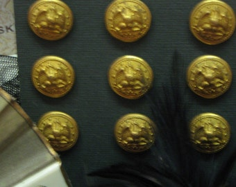 Button Lot Vintage Brass Bald Eagle Militay AMERICANA HISTORICAL 12 Pristine Mounted