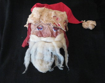 Antique SANTA Mask Face Holiday Costume.Halloween Oil Cloth Cotton Batting Life Size c.1910 Era