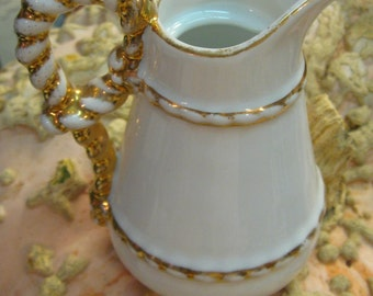 WHITE ANTIQUE VITRIFIED CHINA JUG PITCHER WHITE VICTORIAN GOLD GILT HANDLE SPOUT MILK JUG CREAMER HEAVY CHINA AMERICAN POTTERY