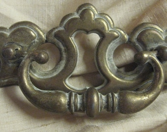 Antique Brass Hardware Drawer Pull Restoration Long Large 5 inches wide Salvage Estate Find Builder Ornate 2466