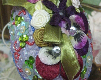 Easter Egg Sequinn Pansys Ribbon Beads Hand made flowers burgundy green blue purple pink box designer tag satin Vintage Free Shipping
