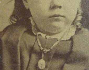 She is MAD Antique PHOTOGRAPH c1910 Victorian Little Girl  cabinet picture ringlets hair taffeta dress exagerated waist bow victoriana sleeve collar cuff locket