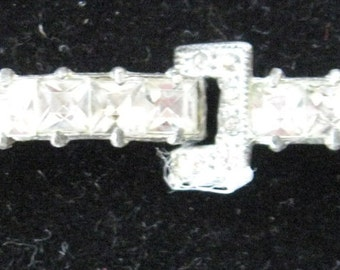 """Rhinestone Silver  Antique Art Deco NOUVEAU Pot Metal RHINESTONES BRACELET  Victorian as is or Assemblage Re-purpose Crafter 3.5""""  Estate Find as is 5 White Stones  Designer Jewelry Costume Pin"""