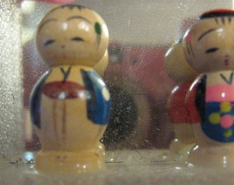 Miniature Set of Two Japanese Kokeshi Dolls Fixed Head wood Japan Kokeshi tiny boy and girl asian c1950 crafter, for jewelry, necklace