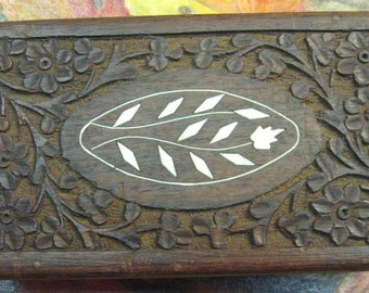 Box Antique rosewood Carved Inlaid Shell Flower Wood Trinket Gents Mens Jewelry Hinged Box Fathers Day coupon code10MOJ2