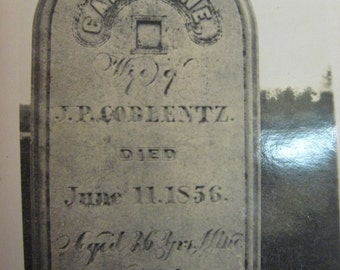 Gravestone 1856 Photograph Catharine Wife of JP COBLENTZ Death Grave Marker Cemetary Tombstone Internment Grave and Funeral photo book mark