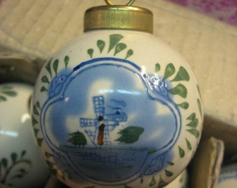 HOLLAND Windmill  Blue on Cream Handpainted Porcelain Christmas Tree Ornaments 6 MIB Brass Fitting
