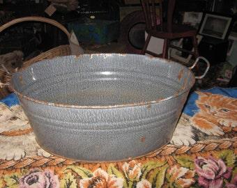 GRANITEWARE Grey Gray Enameled Cowboy Wash Tub Antique with Handles No Holes FREE Shipping