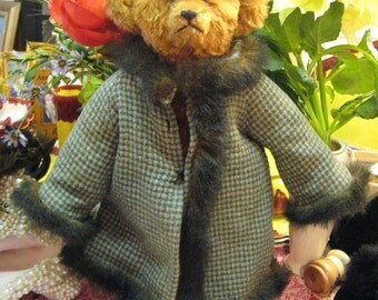 "RARE RUSSIAN Gorbachev Teddy Bear Rust Brwn Mohair Jointed Artist Bear ""Carri"" Port Wine Birthmark Coat Boots Hat Faux Fur 16"" Tall"