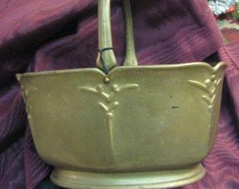 Vintage Guild German Basket Bronze Tone Basket Marked Guild Factory Mark  4 x 6.5 long Fluer de lis Handle