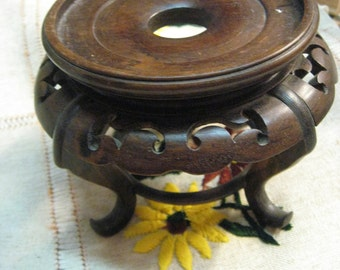"Vintage Teak Stand Ornate 4"" Tall"