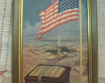"""American Flag Bible And Church Embossed Print with frame 5"""" x 8"""" nice condition"""