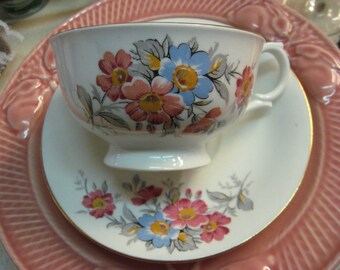 Vintage Teacup Bone China Clarence England Pink Blue Flowers Inside and Out  gilt Hand numbered in gold