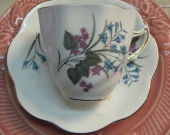 Vintage Teacup and Saucer, Floral, Bone China, England, Gold with Crown Gray, Purple, Turquoise Gold Gilt 1970 Era