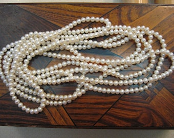"Amazing PEARLS 489 Vintage Pearls 100 Inch Real Pearl Strand Knotted Amazing Lustre each 1/4""  Pristine 1960 Era"