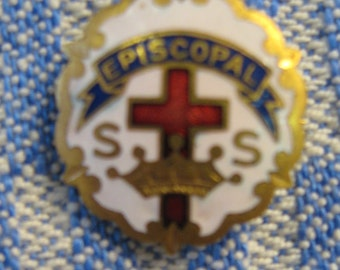 VINTAGE Episcopal Little Cross & Crown Sunday School Pin 10K GF Enamel Pin brooch Breastpin Religious