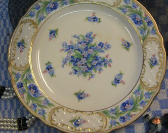 """Antique Schumann Forget Me Not plates made in Bavaria Germany 7 3/4"""" RARE GORGEOUS Free shipping"""