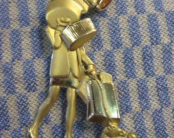 Fashionista Shopper Shopoholic Shopping Pin Brooch Gold Tone Pin Fun Shopping dog stellettos long legs