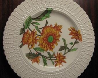 Cauldon Flower Series Yellow Crysanthemum Luncheon Plate Embossed Dot Rim