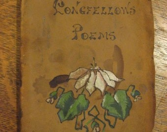 ANTIQUE LONGFELLOW Poems First Edition personal inscription 1907 Leather Cover Lithograph