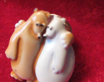 "Vintage Bear Brooch Hugging Pola Bears Pinback signed JJ Enameled Friendship Valentine Love 3/4"" Tall Teddy Bears Jewelry 1990 Era"