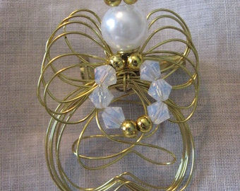 Wire Angel Brooch Floating Faux Pearl Austrian Crystals Vintage Gold plate wire demi-parure Sale code 10moj2