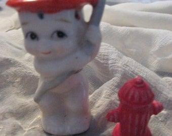 "Vintage Bisque Little Fireman 3"" and Fire Hydrant Figure Fire Hat Hose Handpainted Sale Code 10moj2"