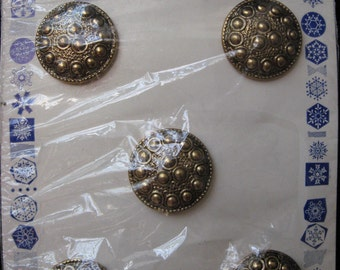 Vintage Buttons Nouveaute 5 Brass Metal tiny flowers black Original Card Craft Artist Jewelry Free Shipping
