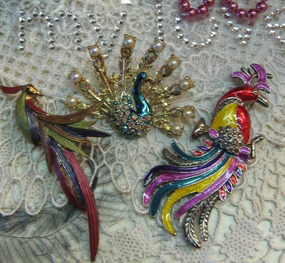 Costume Jewelry Peacock Brooch  Enameled Rhinestones Feathers Birds Pin Silvertone Goldtone Red Pink Yellow Pearls Vintage 3 inches tall