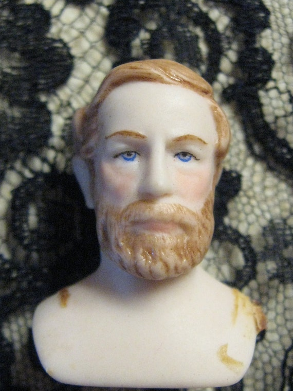 MINIATURE DOLL Shoulder Head Doll Bisque Handpainted Features Blue Eyes Brown Hair Mature Man From MOJEART
