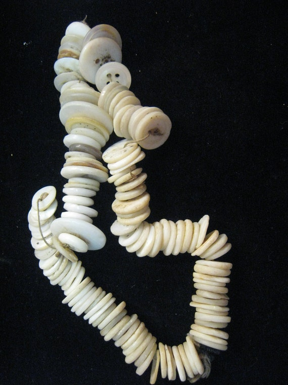 Mother of Pearl Handmade Button Lot Strung Long Ago Estate Find as found All White Shabby chic