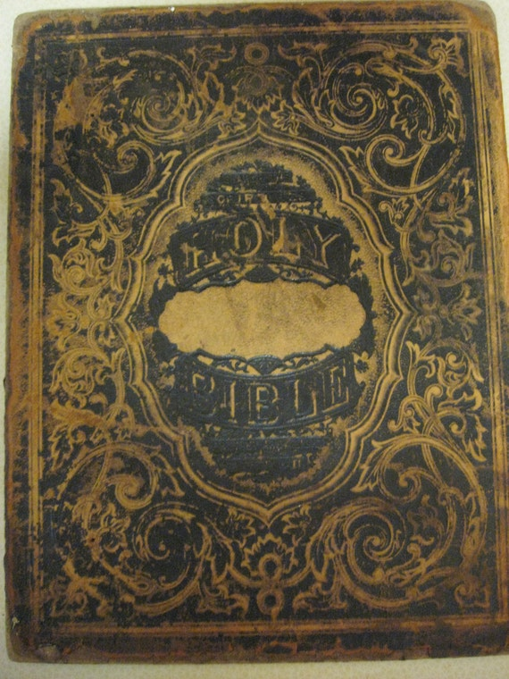 Holy Bible 1800 S Hard Bound Back Cover Tooled Leather