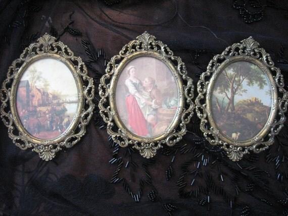 "Miniature Gallery Frames ITALY Brass Ornate fluer de lis pierced glass 3 3/4"" x 5.5"" SET of Three"