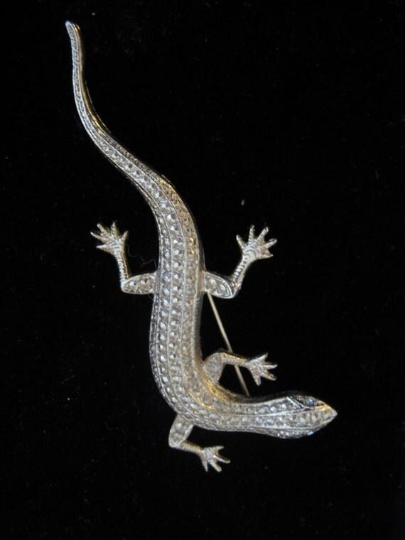 "Vintage Gold Tone Lizard Brooch Reptile Rhinestone eyes Jewelry Pin 34"" long 20% Off sale Code 10moj2 Vestiesteam"