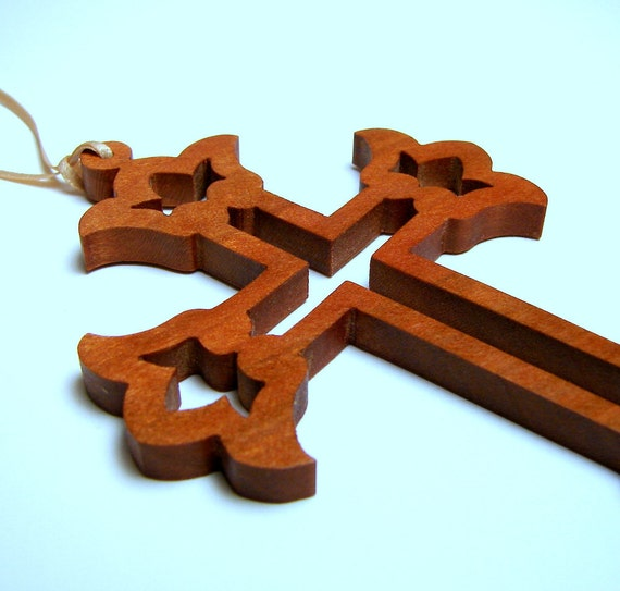 Cross /  Ornament / Small Wall Hanging / Cherry Hardwood