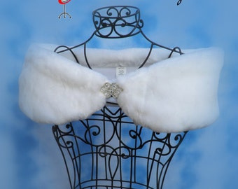 """Custom PLUS SIZE woman's 8"""" wide Faux Fur Wrap shawl White Winter wedding formal shrug Available in a variety of faux furs"""