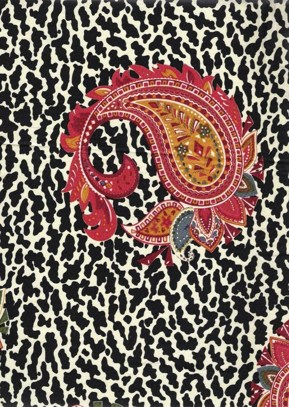 Vintage Paisley on Black Leopard Print fabric sample in cotton