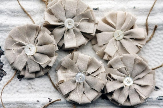 5 Large Layered Fabric Flowers - 5 pcs. Wedding Decoration