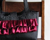 Black Ruffle Purse with Raspberry Lining - SouthernTwistedBags