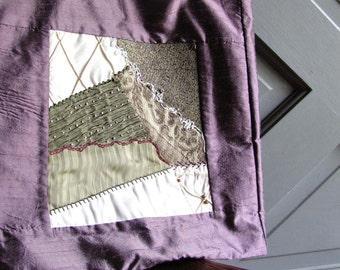 Art Quilt Bag - Crazy Quilt - Lavender Lilac Purple
