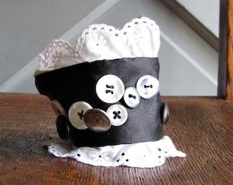 Fabric Cuff Bracelet - Black and White - Ruffles