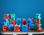 28 Vintage Plastic Letter and Number Blocks