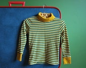 Vintage Toddler's Mustard Yellow and Green Striped Turtleneck- Size 3T
